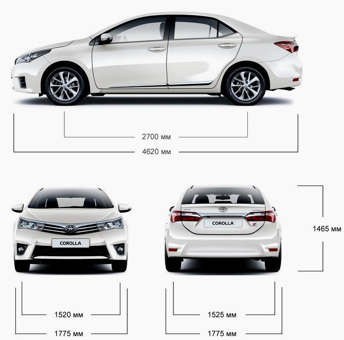 Тойота Королла 2015: габариты